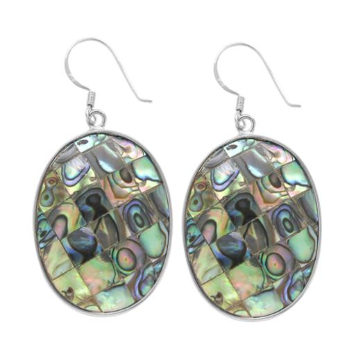 V3 Designs Sterling Silver Oval Abalone Shell Drop Earrings