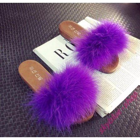 Womens New Feather Fluffy Flats Slippers Mules Slip On Creepers Sandals Shoes