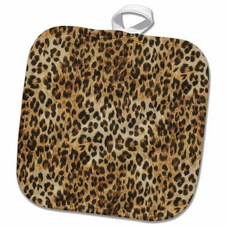 3dRose Brown, tan, and black cheetah print - Pot Holder, 8 by 8-inch ()