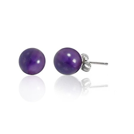 Simple 6MM Gemstone Round Ball Stud Earrings For Women For Teen 925 Sterling Silver 9 Birthstones More Colors