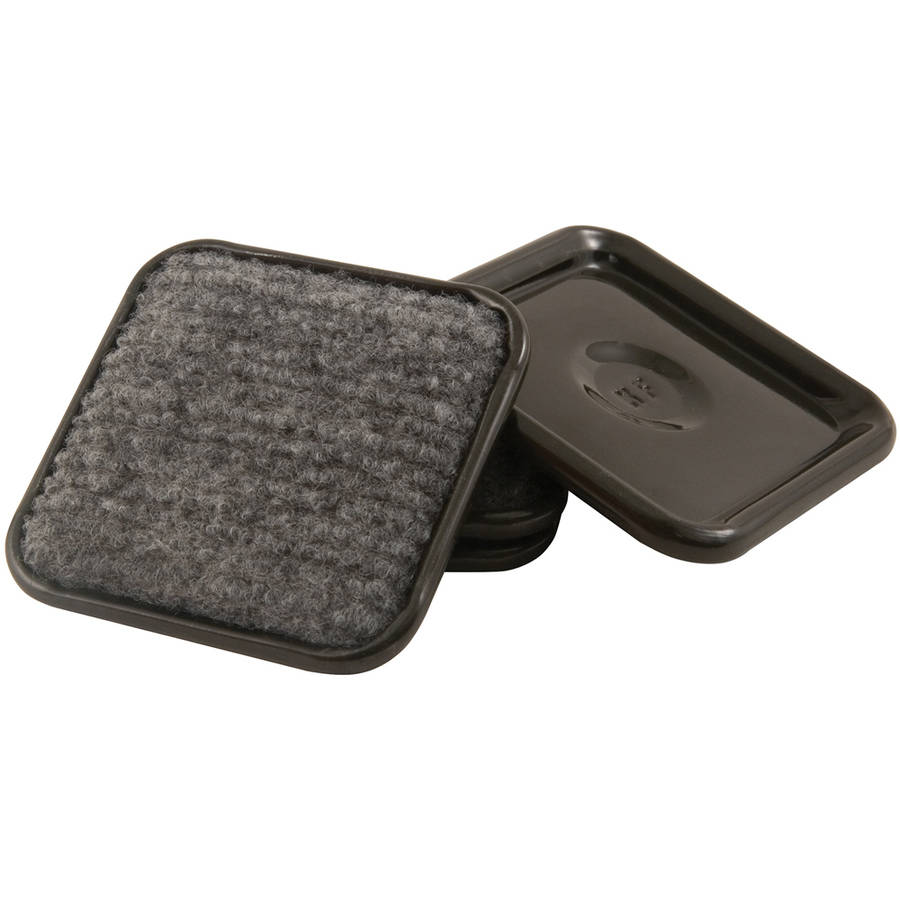 "Waxman Consumer Group 4292395N 1-3/4"" Gray Square Carpet Caster Cups, 4 Count"