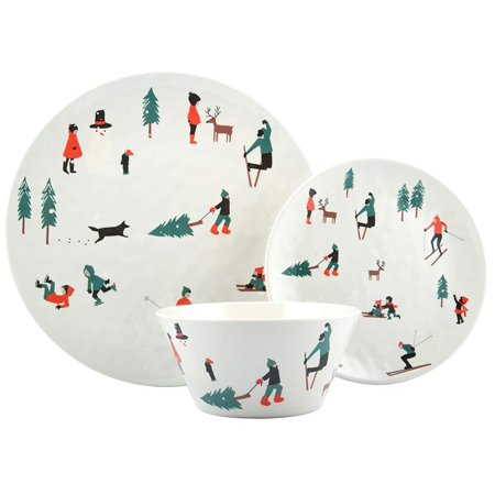 Melange 608410091740 18-Piece 100% Dinnerware Set for 6 Christmas Collection-Ski Holiday Shatter-Proof and Chip-Resistant Melamine Dinner Plate, Salad Plate & Soup Bowl (6 Each), 10.5
