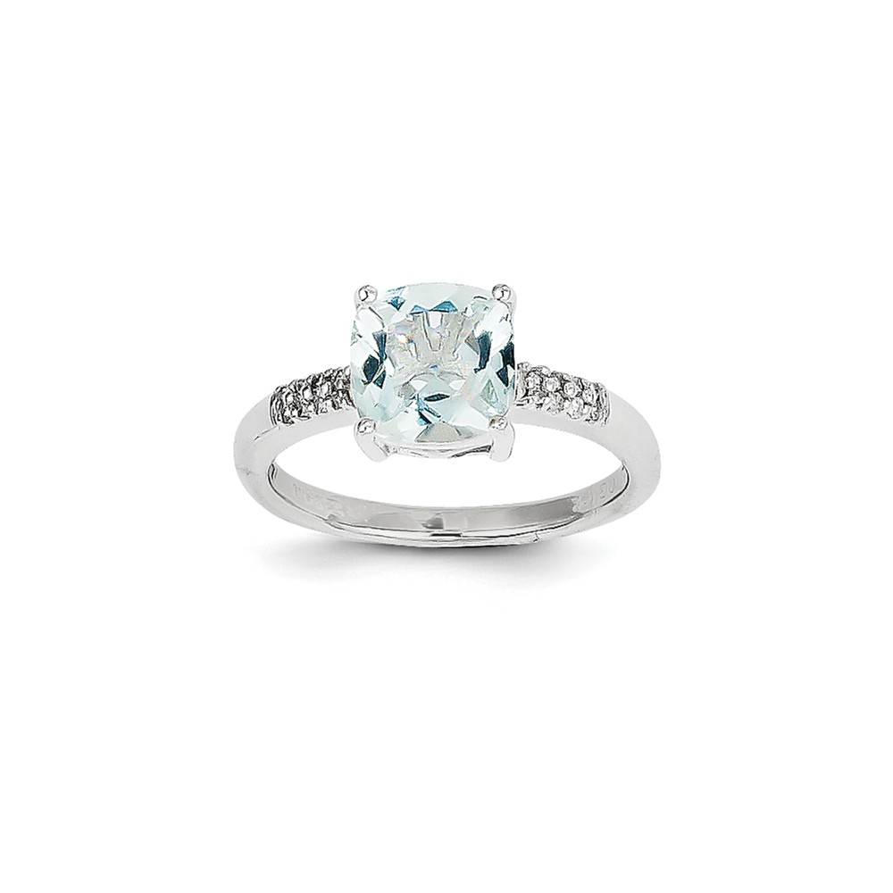14K White Gold (0.08cttw) Aquamarine and Diamond Ring Size-7 by
