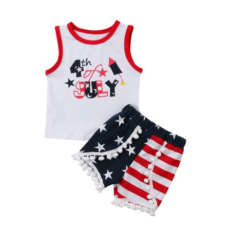 Summer 2Pcs July Fourth Toddler Kids Girl Vest Tops T shirt + Shorts Pants Outfit Set Clothes - 4th Of July Clothes