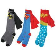 Women's Set Of 3 Caped Socks - Wonder Woman, Batman And Super Man - Dc Comics