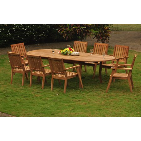 Teak Dining Set 10 Seater 11 Pc 117 Double Extensions Oval Table