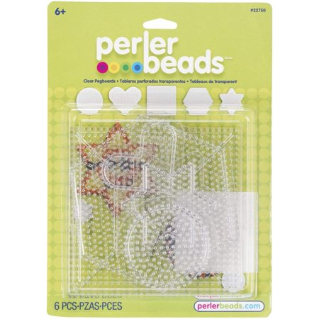 Beads Small & Large Basic Clear Pegboards, Package includes smaller (about 3 inches) sized circle, star, and heart, along with larger (about 5.5 inches) sized hexagon.., By Perler