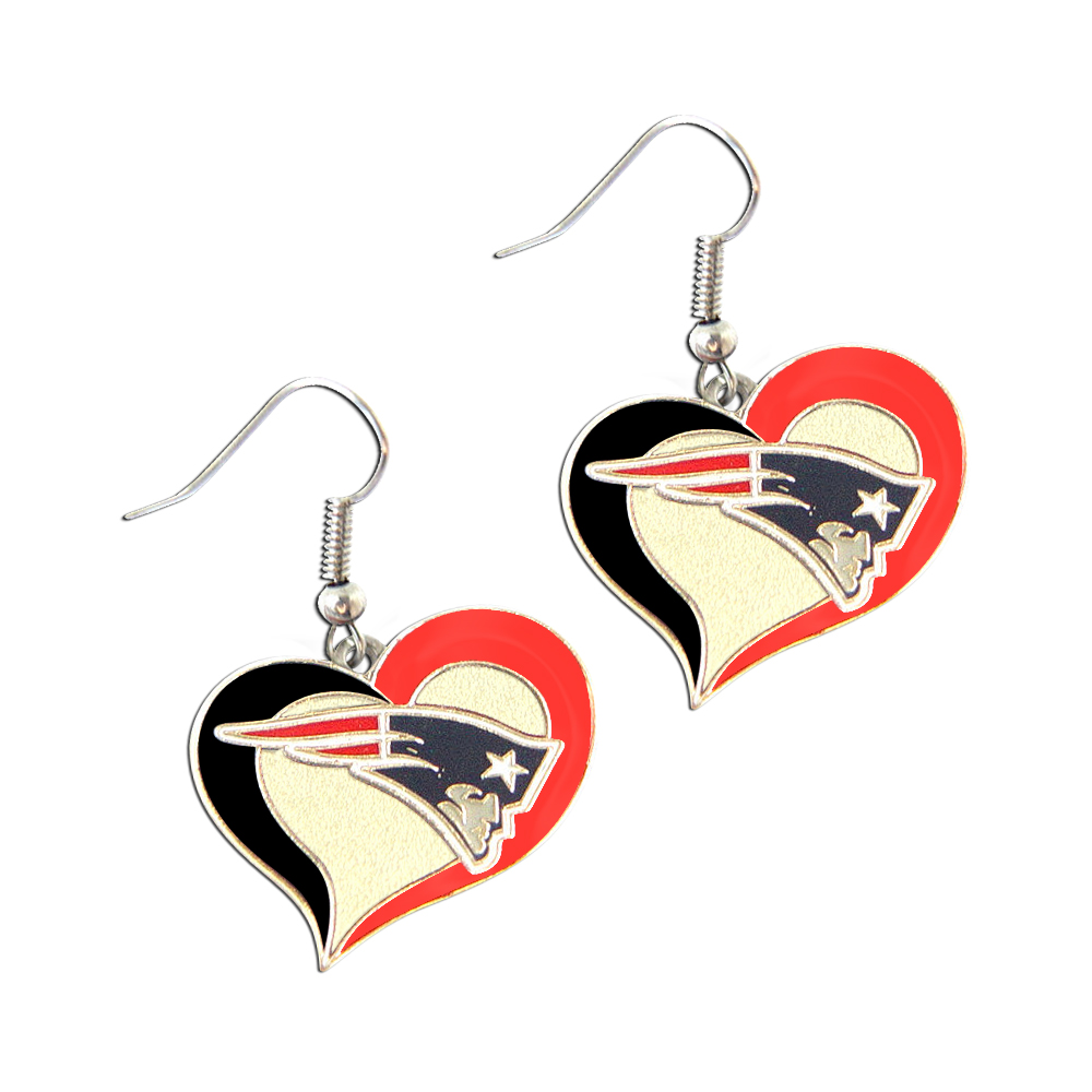 NFL New England Patriots Swirl Heart Shape Dangle Logo Earring Set Charm Gift - image 1 of 1