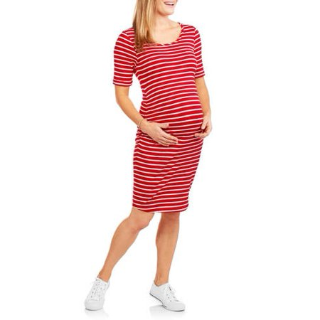 9f01e8bc5f Oh! Mamma - Oh! Mamma Maternity Short Sleeve Stripe Dress with Flattering  Side Ruching-- Available In Plus Sizes - Walmart.com