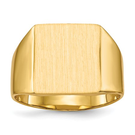14k Yellow Gold 13.0x12.0mm Closed Back Mens Signet Band Ring Size 8.50 Man Gift For Dad Mens For Him