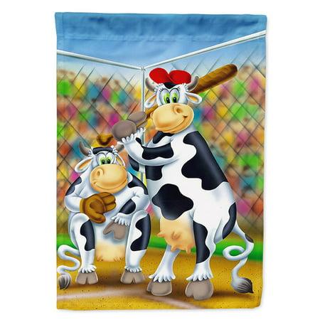 Cow playing Baseball Garden Flag