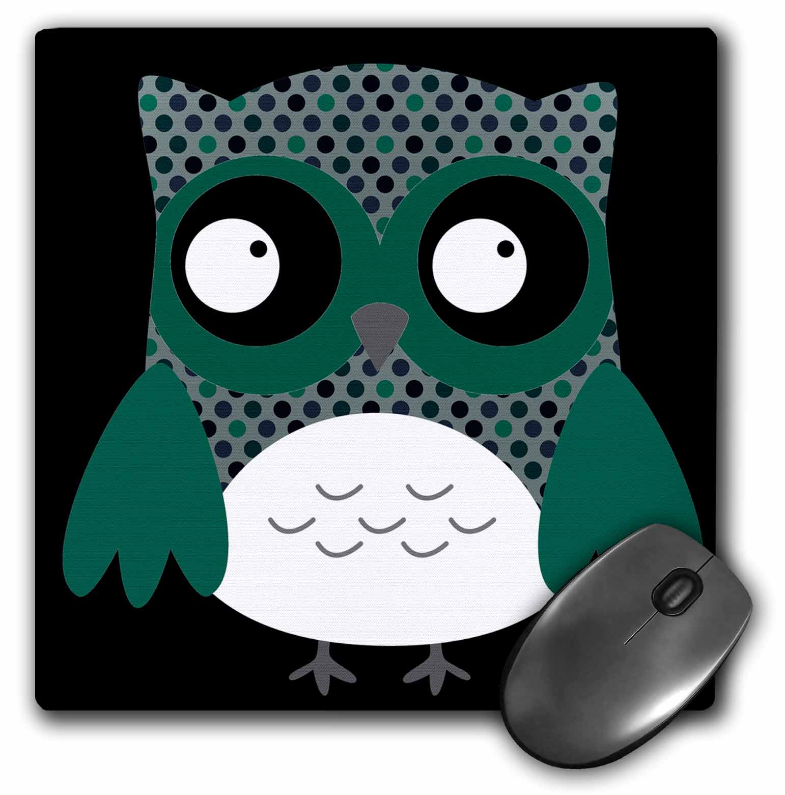 3dRose Cute Deep Blue and Green Polka Dots Owl, Mouse Pad, 8 by 8 inches