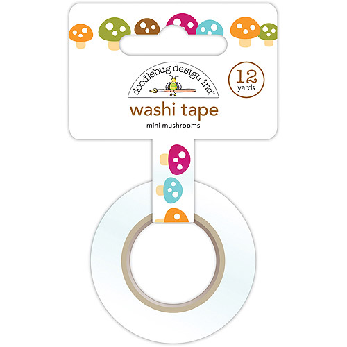 Happy Camper Washi Tape, 15mm x 12 yds, Mini Mushrooms