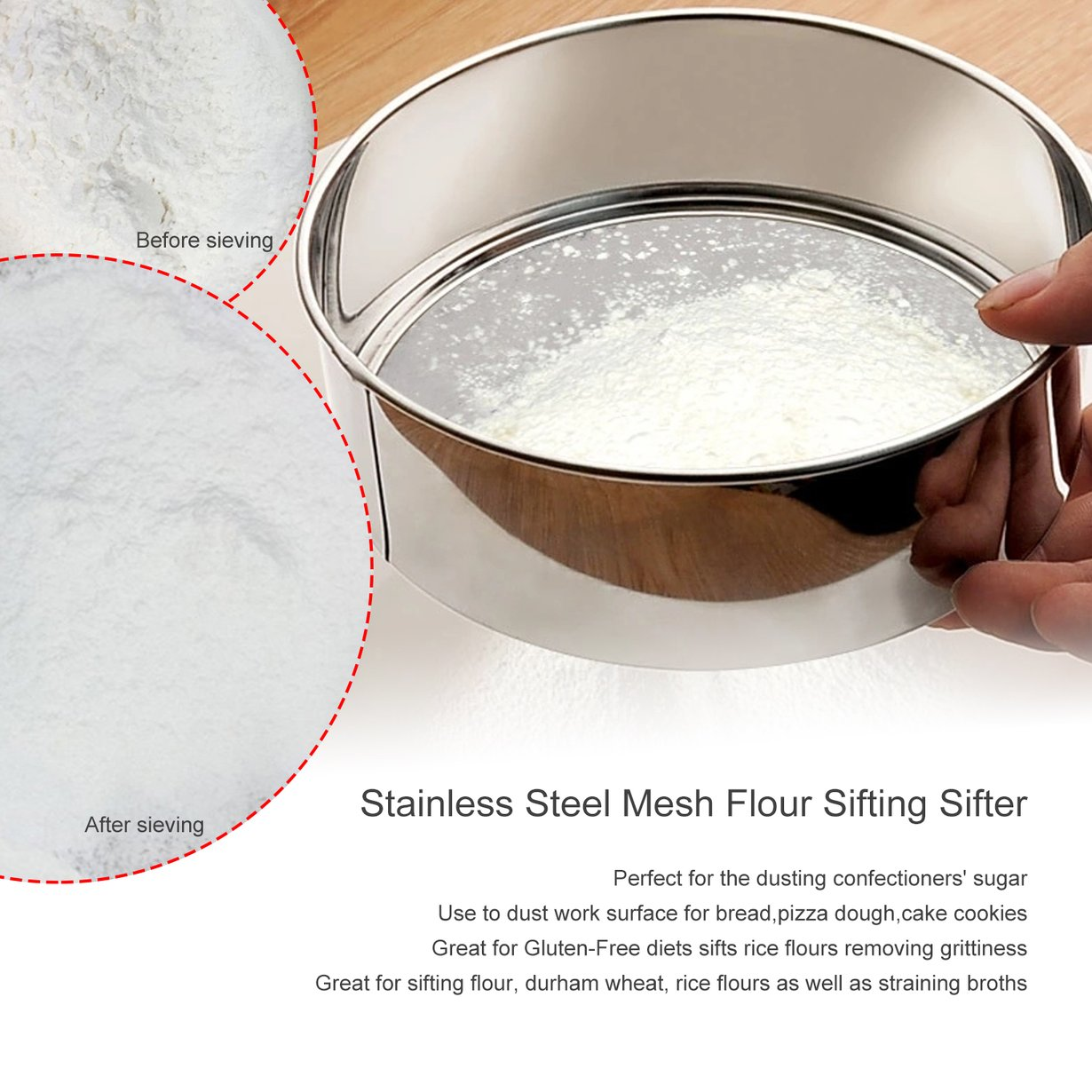 New Upgraded PREUP Stainless Steel Mesh Flour Sifter Mechanical Baking Icing Sugar Shaker Sieve Strainer Mesh... by