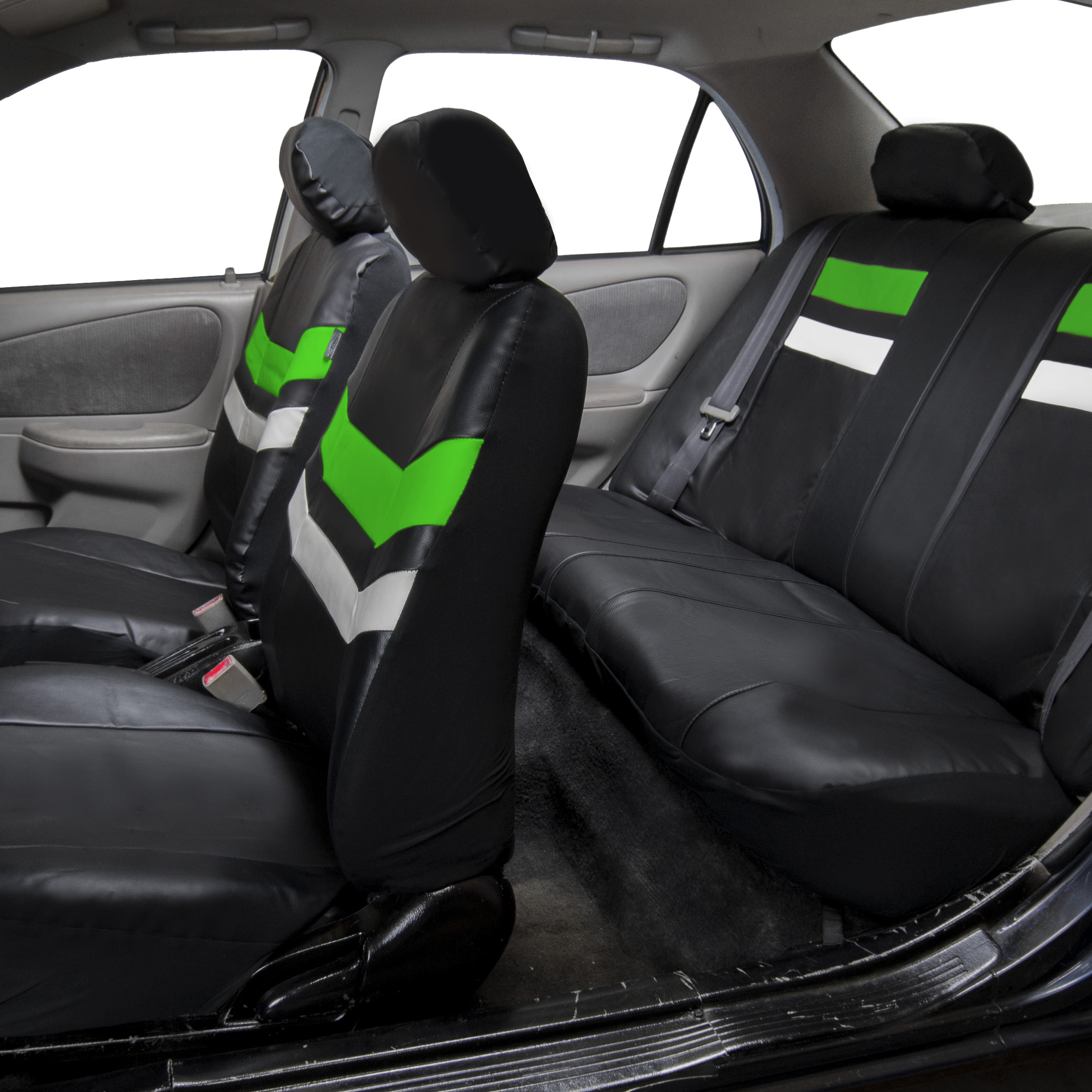 FH Group, Varsity Spirit PU Leather Seat Covers for Auto, 5 Headrests Full Set, 11 Colors