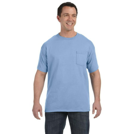 Branded Hanes Mens 61 oz Tagless Pocket T-Shirt - LIGHT BLUE - XL (Instant Saving 5% & more on min 2) ()