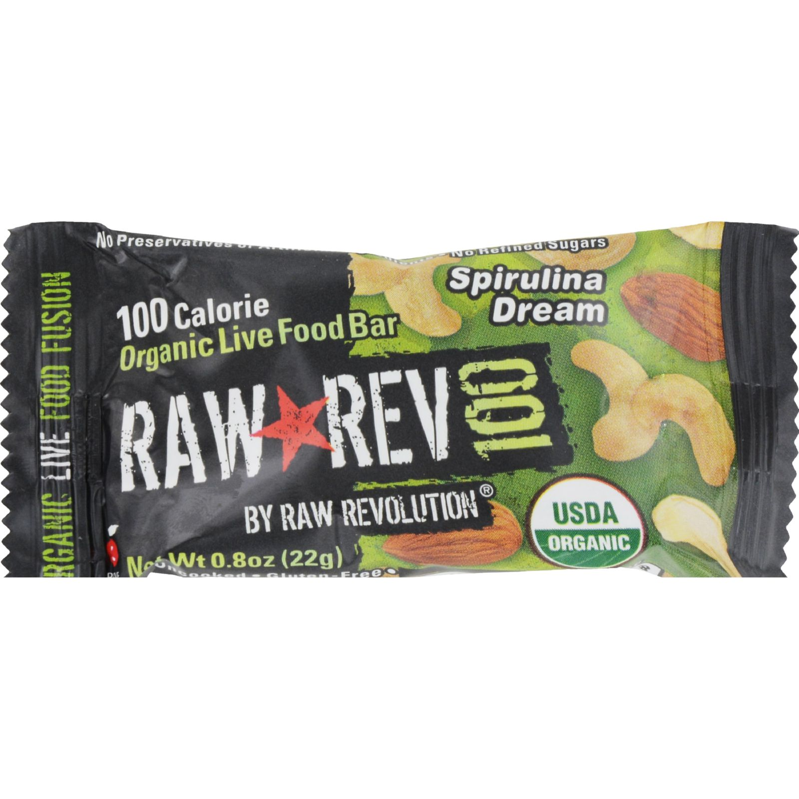 Raw Revolution Bar - Organic Spirulina and Cashew - Case of 20 - .8 oz