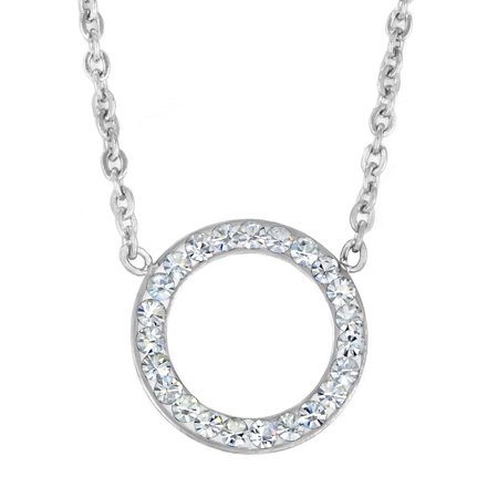 Stainless Steel Crystal Open Circle Pendant Necklace