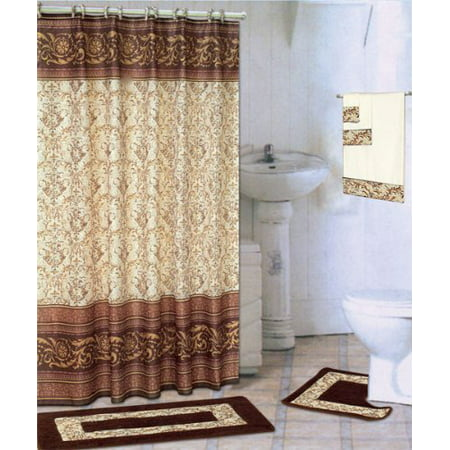 Coffee 18 Piece Bathroom Set 2 Rugs Mats 1 Fabric Shower Curtain