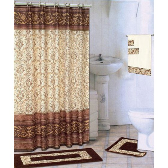 Coffee 18 Piece Bathroom Set 2 Rugs Mats 1 Fabric Shower Curtain 12 Covered Rings 3 Pc Decorative Towel