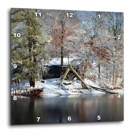 3dRose Heaven on earth can be found in the Tennessee Mountains inside this rural cabin in the snow, Wall Clock, 13 by 13-inch