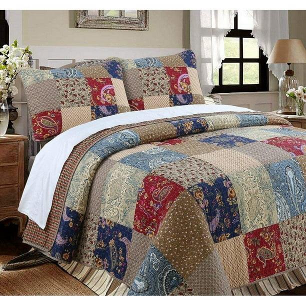 Cozy Line Hyler Patchwork Cotton 3 Piece Reversible Quilt Set Walmart Com Walmart Com