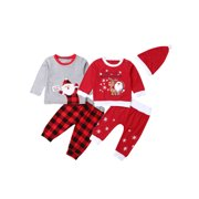 Christmas Newborn Baby Boy Girl Clothes Romper Pants Hat Warm Xmas Outfits Set