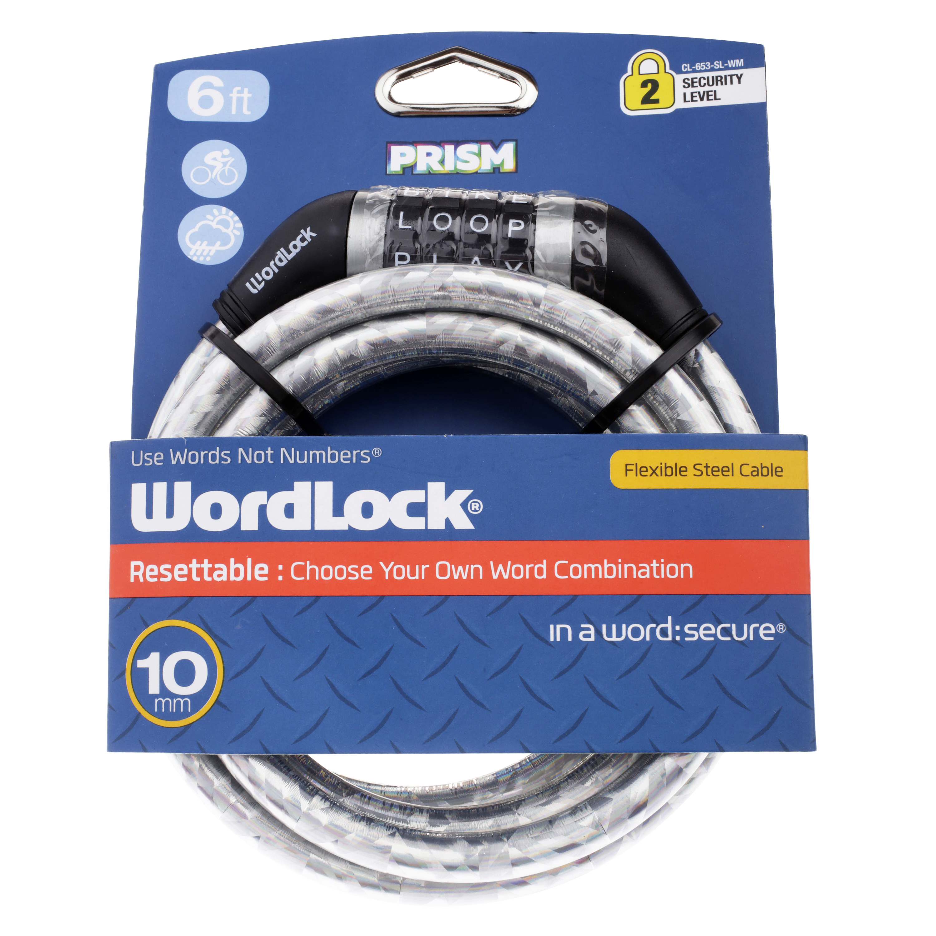 Wordlock Quick Release 10 mm Silver Bicycle Lock