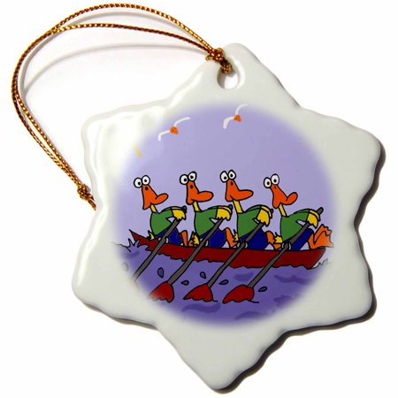 3dRose Funny Ducks in a Row Boat Cartoon, Snowflake Ornament, Porcelain, (Porcelain Duck)