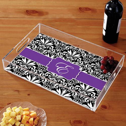 """Personalized 11"""" x 17"""" Acrylic Tray, Purple Damask"""