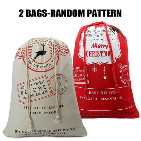 Bonison Random 2 Pack Christmas Bags Santa Sacks Canvas Bags For Gifts Santa Sack Special Delivery Extra Large Size 27.6