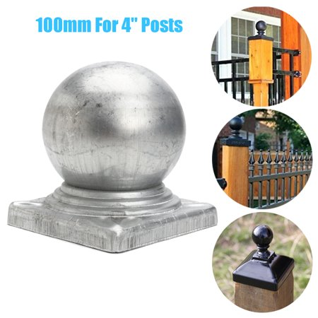 100mm Galvanised Metal Silver Round Ball Fence Finial Post Caps For 4'' (Crystal Ball Finial)
