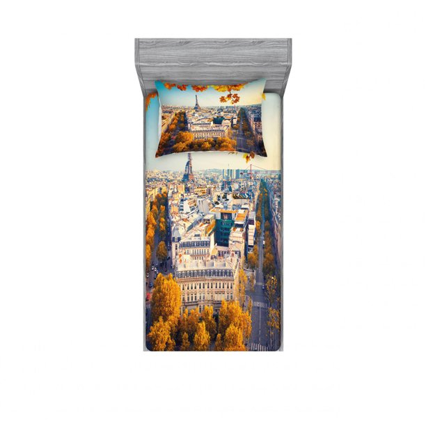 Fall Bedding Set With Sheet Covers Aerial View Of Eiffel Tower At Sunset Paris France Cityscape Historical Landmark Image Printed Bedroom Decor 2 Shams 4 Sizes Multicolor By Ambesonne Walmart Com