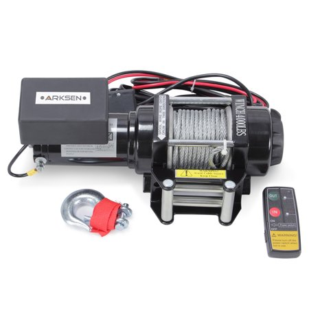 Arksen 12V 3500lbs Capacity Recovery Electric Winch Towing Truck Trailer ATV Line with Wireless Remote, (Electric Trailer Winch)