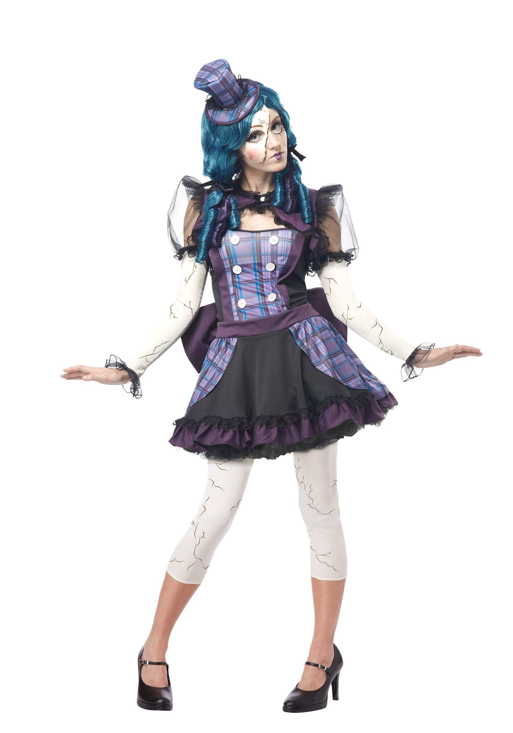 Damaged Doll Porcelain Doll Teenage Halloween Childs Girls Fancy Dress Costume