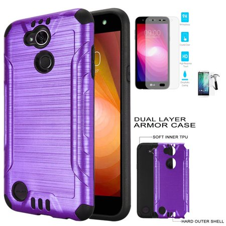 pretty nice 4f563 c894a Phone Case for Straight Talk LG Fiesta 2, TracFone LG Fiesta Case, X  Charge, Power 2 Case / Power 3 Screen Protector with ShockProof Cover  (Combat ...