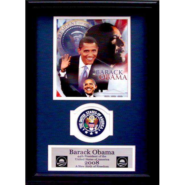 Encore Select 189-KO19708 Barack Obama Collage with Presidential Commemorative Patch in a 12 in. x 18 in. Deluxe Photograph Frame