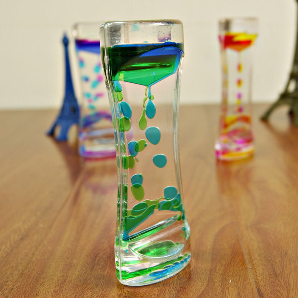 3D Round Flowing Sand Drawing Hourglass Oil Sand Bubbler Motion Timer Decor