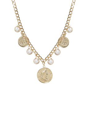 Statement Pearl & Gold Coin Treasure Charm Necklace