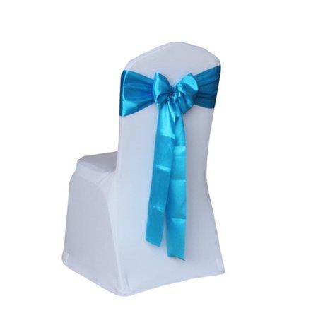 Satin Chair Sash - Satin Wedding Chair Cover Bow Sashes Banquet Decor Color:Lake Blue Size:1PCS