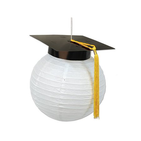 Black Paper Lanterns (Club Pack of 12 Black and White Graduation Cap Paper Lanterns)
