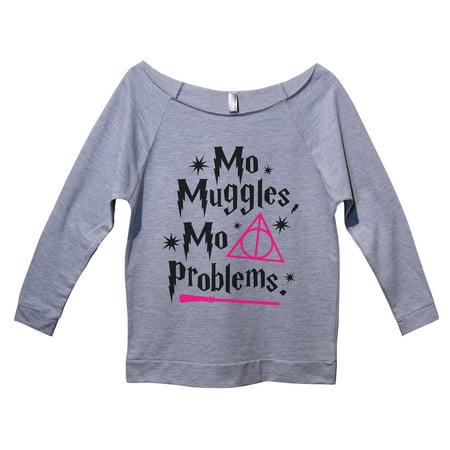 "Womens Raw Edge Harry Potter Sweat Shirt 3/4 Sleeve ""Mo Muggles Mo Problems"" Funny Threadz Small, Heather Grey"