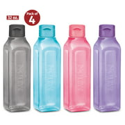 MILTON Sports Water Bottle Square Juice Box 4 Set 32 oz. Great for Juices Milk Smoothies Plastic Wide-Mouth Reusable Leak Proof Drink Bottle/Carton for School Bags Lunch Boxes Gym Flip Lid -BPA Free