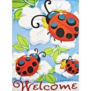 Ladybug Trio Spring House Flag