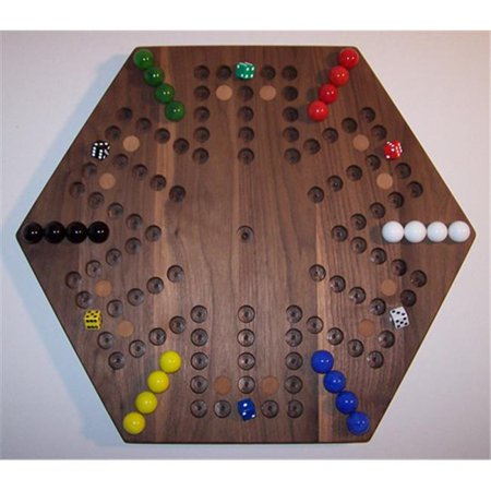 18 in. Hexagon Aggravation Wooden Marble Game Board with 12 Birch Inlaid Spots, Black Walnut - Oiled - 6-Player - 5-Hole
