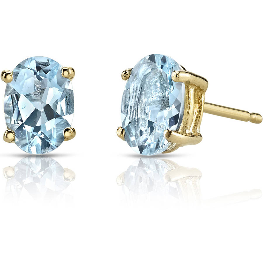 Oravo 1.25 Carat T.G.W. Oval-Shape Aquamarine 14kt Yellow Gold Stud Earrings