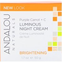 Andalou Naturals  Luminous Night Cream  Purple Carrot   C  Brightening  1 7 fl oz  50 ml