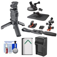 Sony VCT-STG1 Shooting Grip & Tripod for AS50, AS200V, AS300, X1000V, X3000 Action Cams + Suction Cup & Helmet Mounts + NP-BX1 Battery & Charger Kit