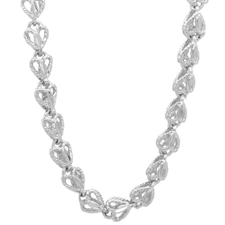 7mm Rhodium Plated Diamond-Cut 3D Roped Heart Shaped Open Link Chain + Microfiber Jewelry Polishing Cloth