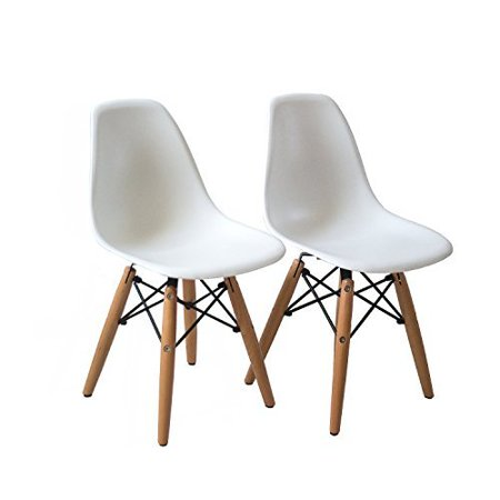 Buschman Set Of Two White Eames Style Kids Dining Room Mid Century
